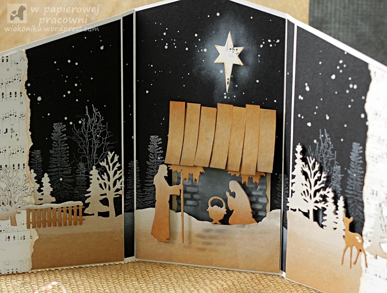 świąteczna, składana karta z szopką