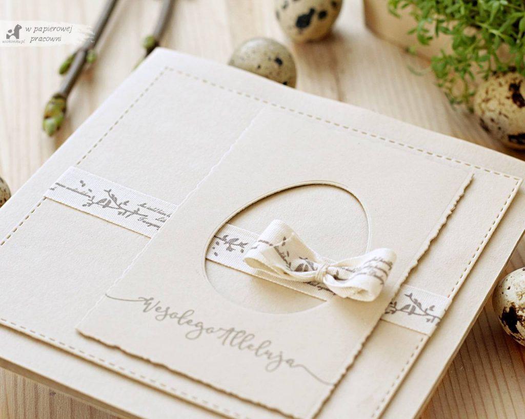 Ręcznie robiona kartka wielkanocna w stylu C&S, prosto i elegancko