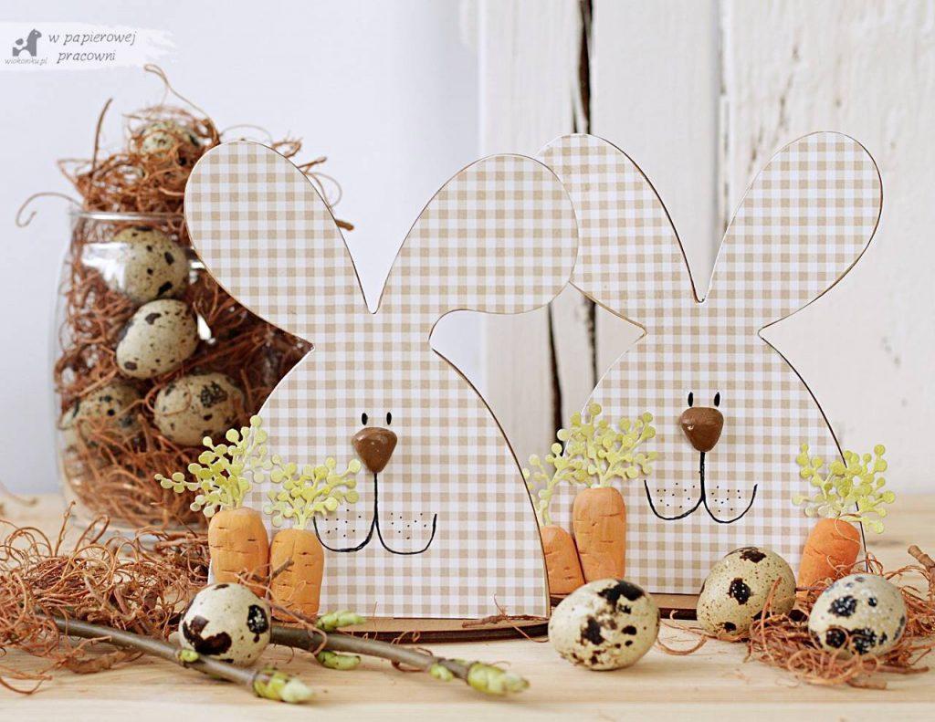 Zajace z marchewka - prosta dekoracja wielkanocna