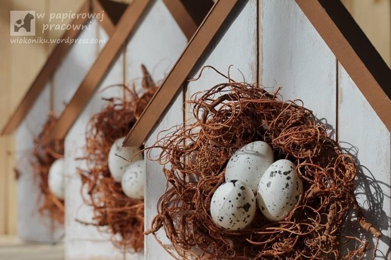 Wielkanocna dekoracja domki dla ptaków z beermaty