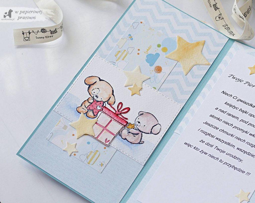 kartka na roczek dla chlopczyka z malowanymi stemplami