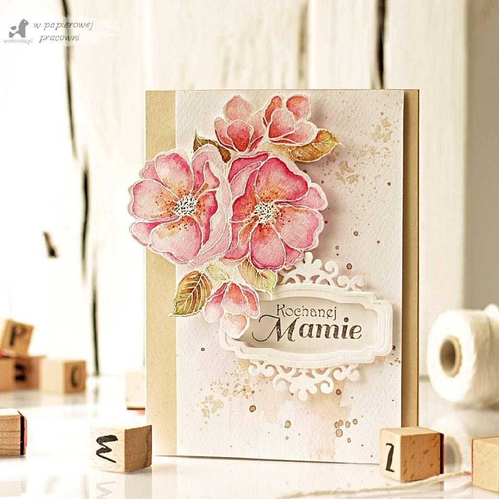 Kartka z malowanym bukietem kwiatów z okazji Dnia Mamy