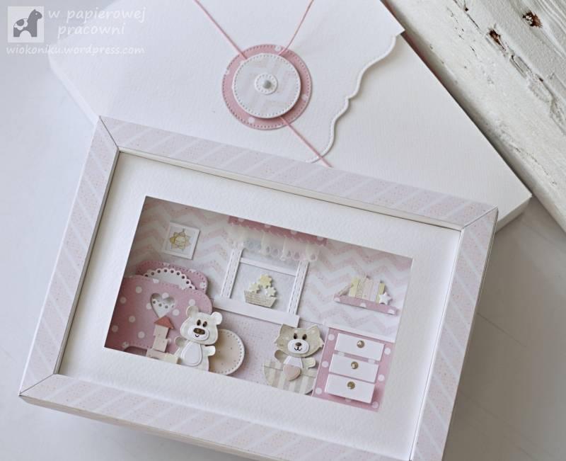 obrazek z ramką 3D dla dziewczynki z kopertą