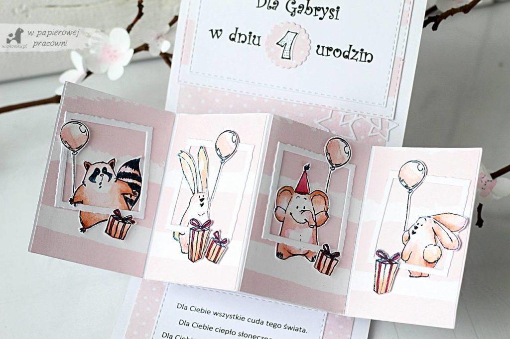 przestrzenna kartka na roczek dla dziewczynki ze zwierzatkami