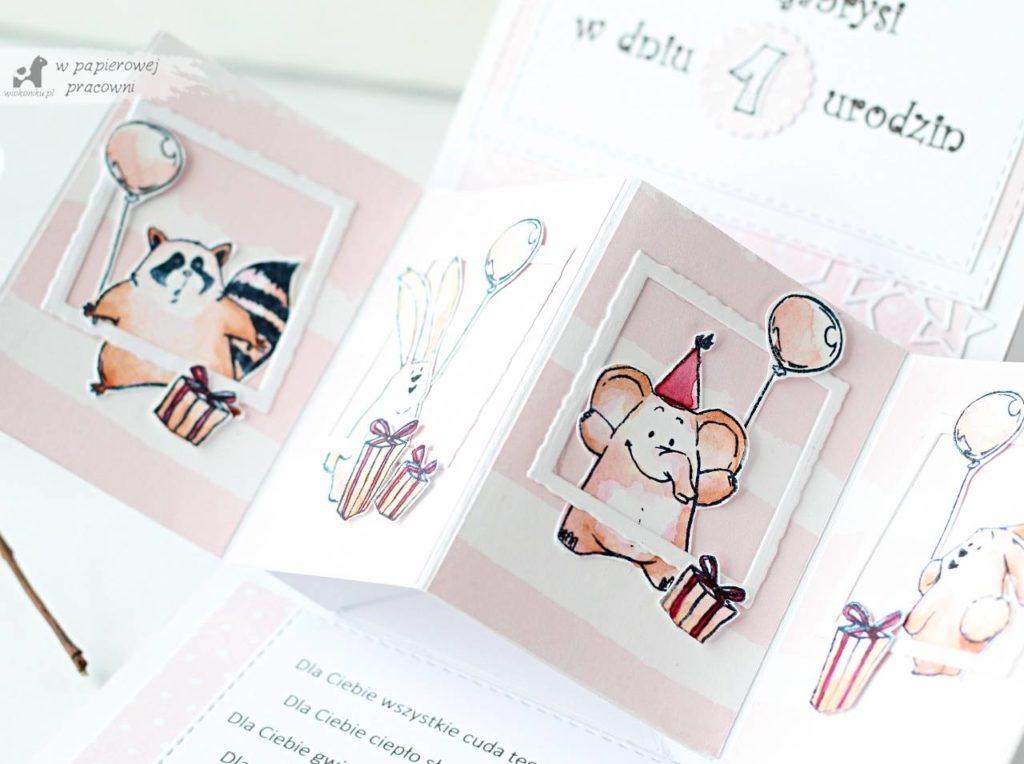 kartka na roczek dla dziewczynki ze zwierzatkami typu twist pop up