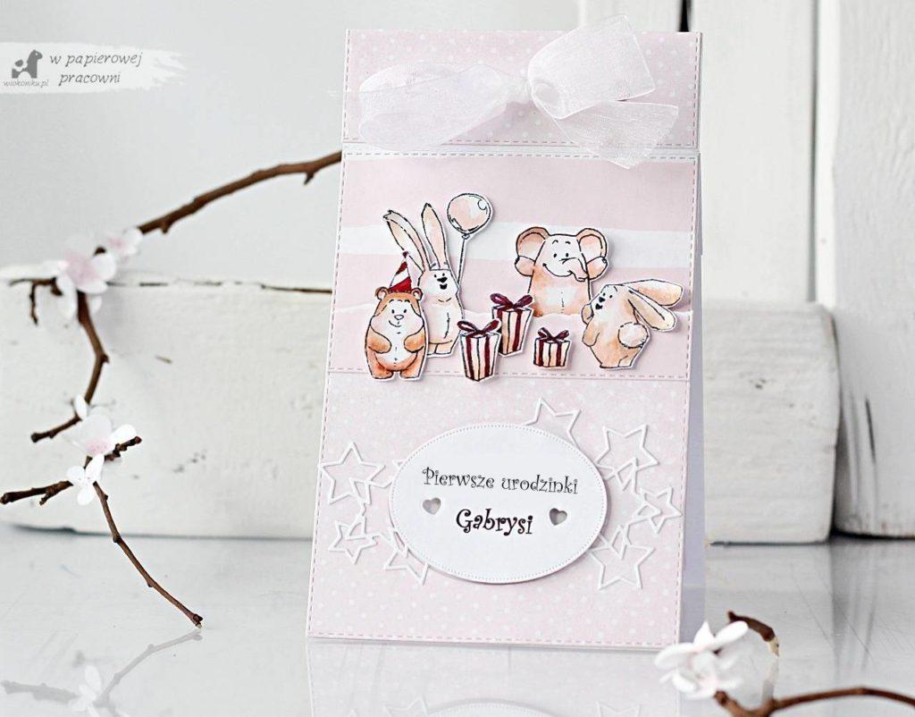 kartka na roczek dla dziewczynki ze zwierzatkami