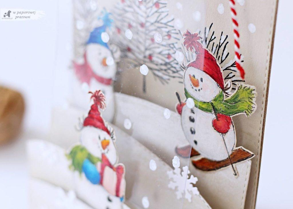 Zimowa kartka z bałwankami - panel z folii