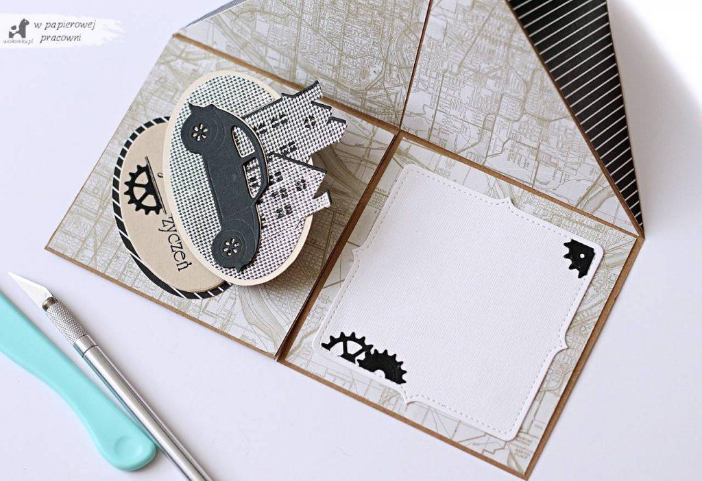 Miejsce na umieszczenie życzeń w kartce sztaluga narożna.