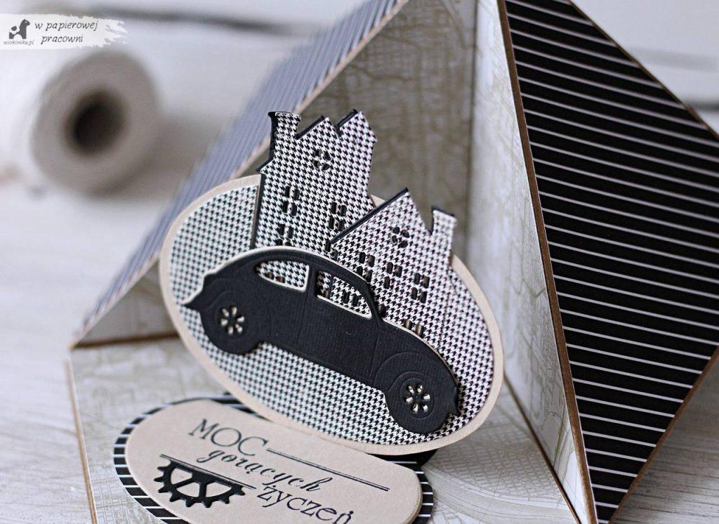 Męska kartka typu sztaluga narożna dla fana motoryzacji z samochodem w centrum