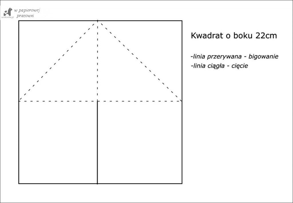 Schemat bazy na kartkę typu sztaluga narożna
