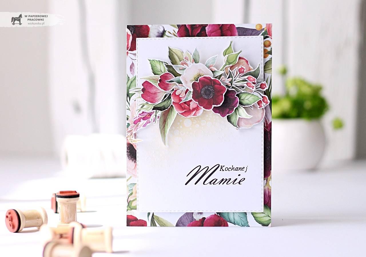Kartka na dzień Matki z bukietem kwiatów