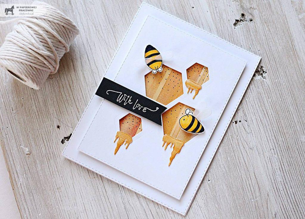 kartka w stylu c&s z motywem pszczół i miodu