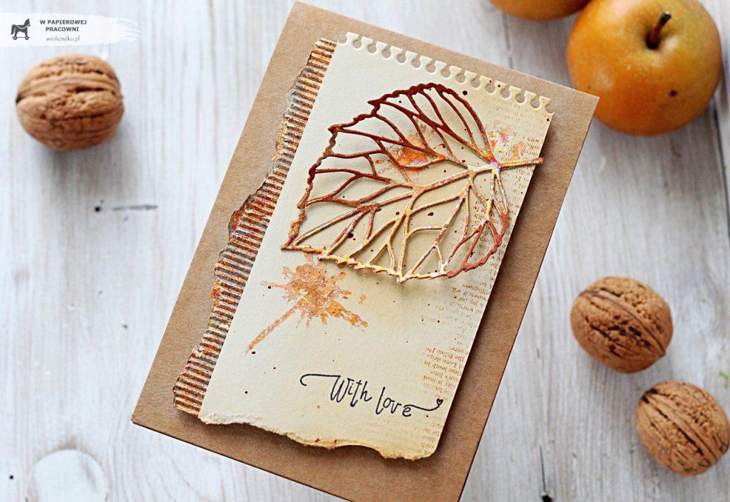 Jesienna kartka w złocie