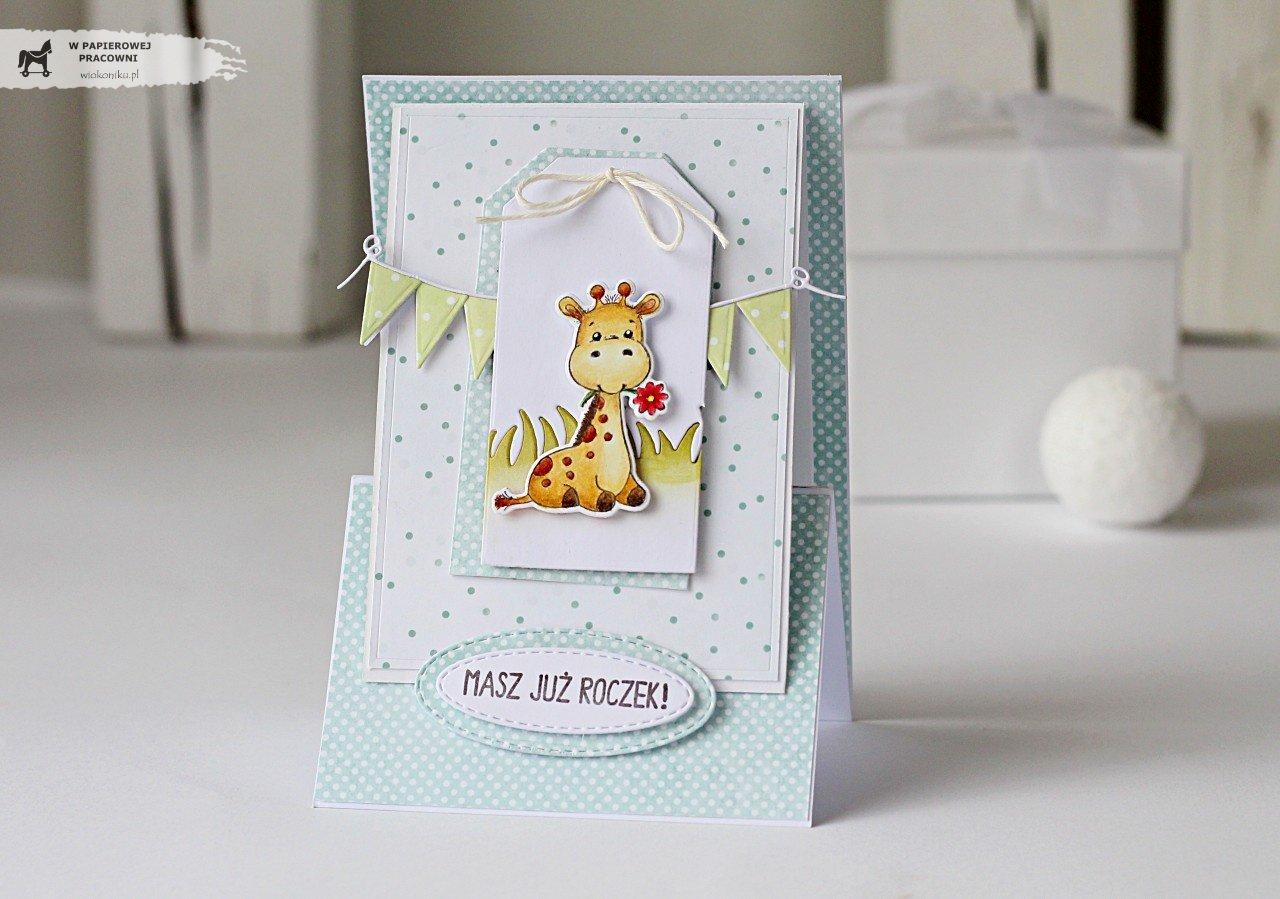 Kartka sztalugowa z żyrafą z okazji roczku.
