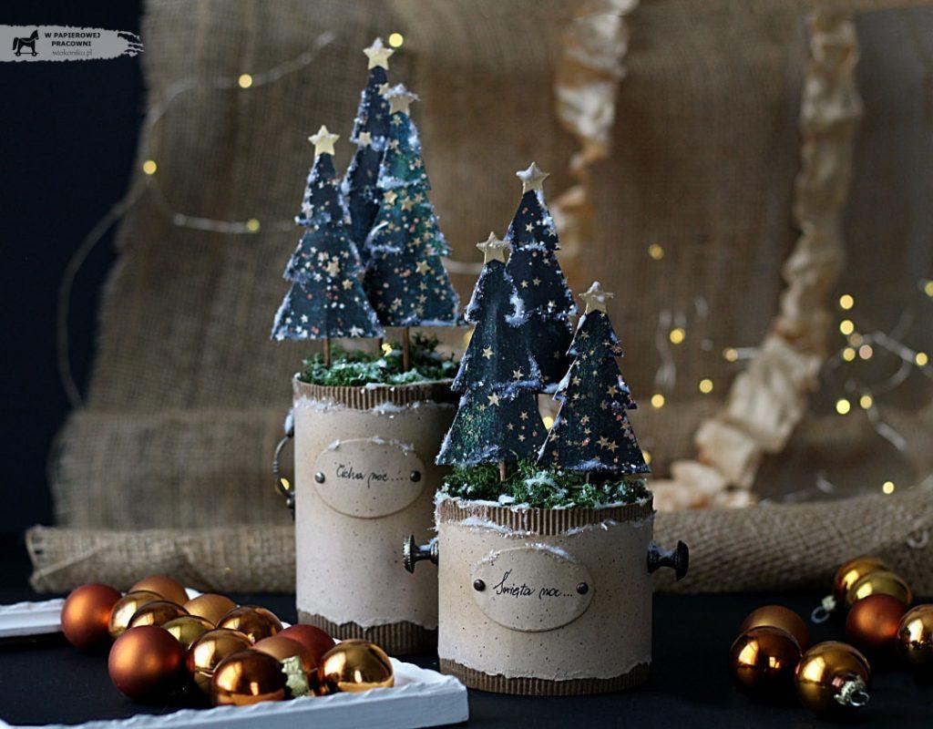Dekoracja świąteczna w stylu vintage z papierowymi choinkami z wykorzystaniem popularnych puszek