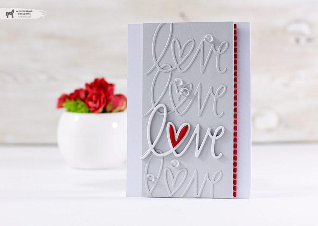Kartka walentynkowa w stylu c&s z napisem love
