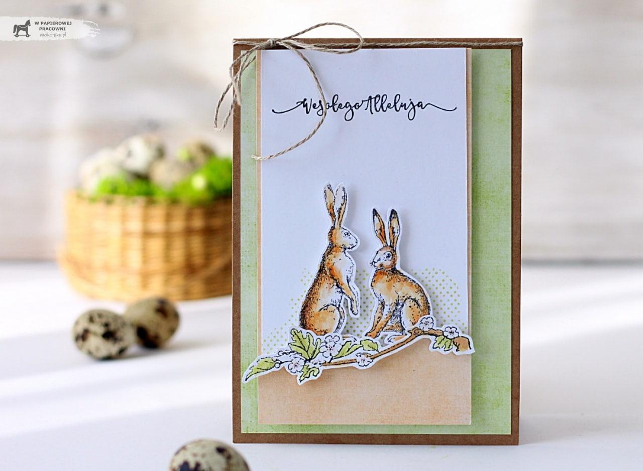 Wielkanocna kartka z zającami