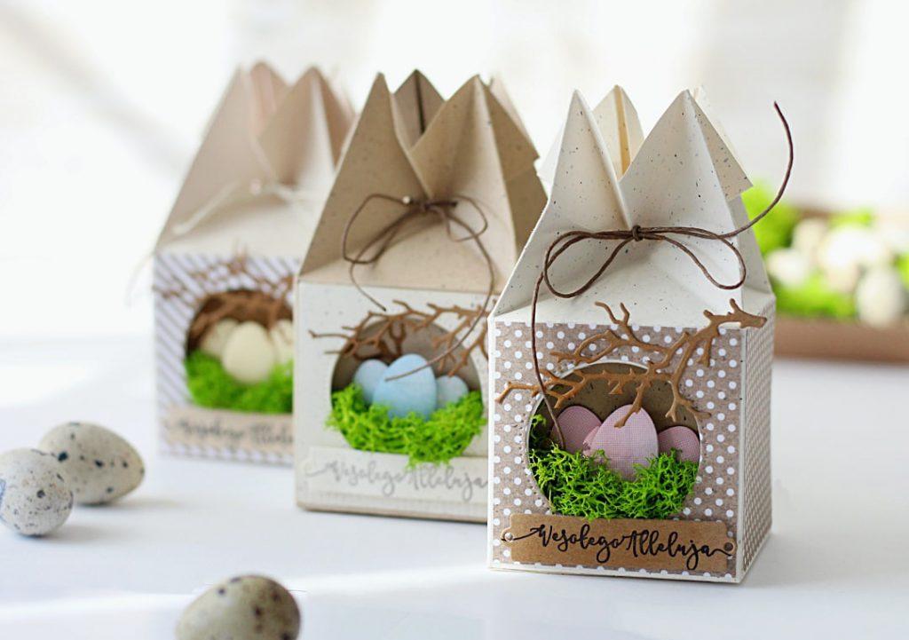 Wielkanocne pudełeczko prezentowe z gniazdkiem
