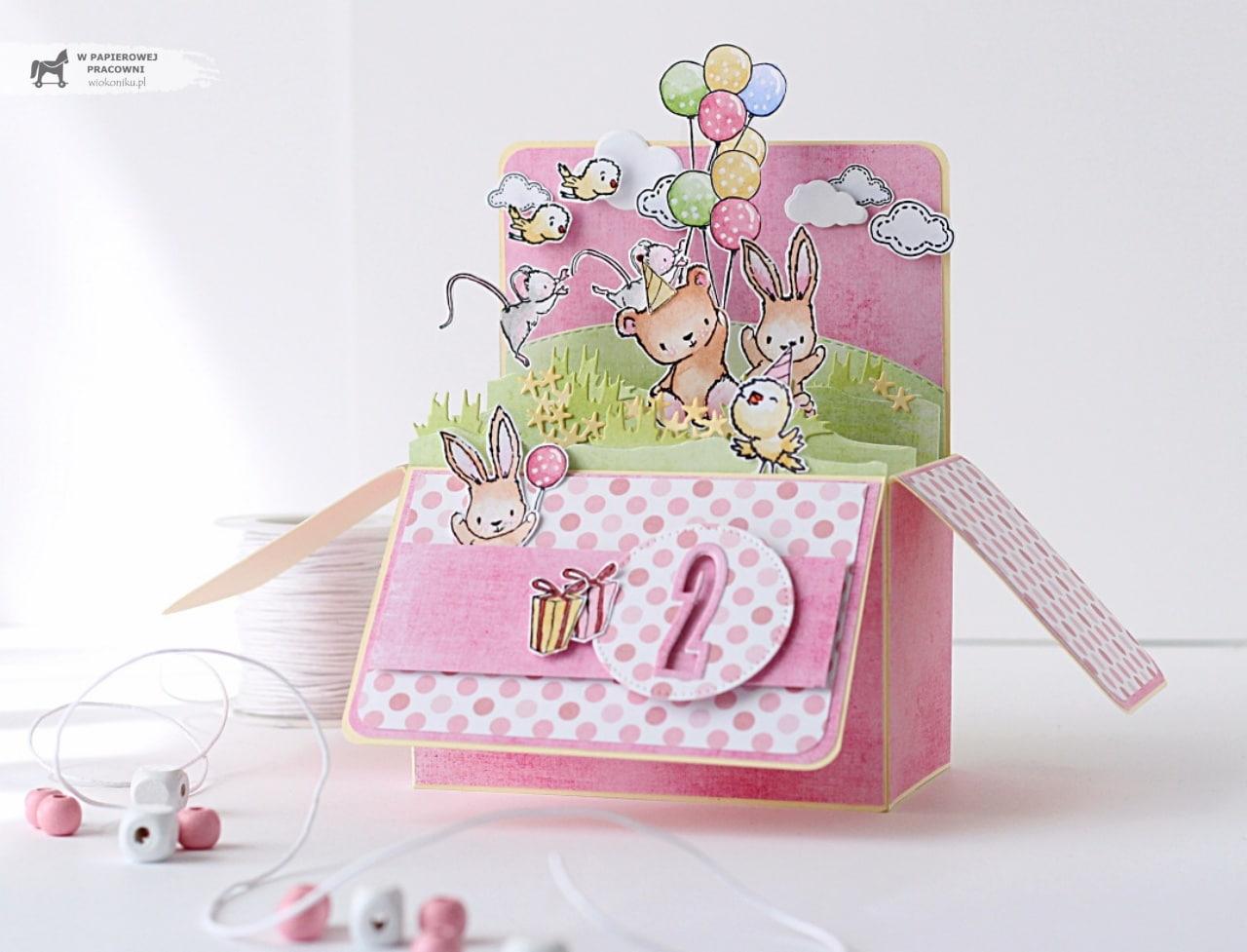 Przestrzenna kartka dla dziewczynki, różowy pop up box